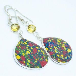 Mosaic Jasper Citrine 925 Sterling Silver Earrings